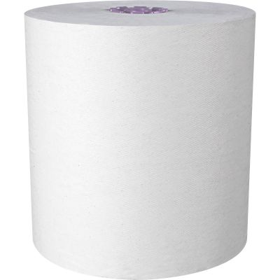 """Kimberly-Clark 02001 Scott Essential High Capacity Hardwound Roll Paper Hand Towels, 1 Ply, Recycled, 8"""" x 950', 1.75"""" Purple Core, White - 6 / Case"""