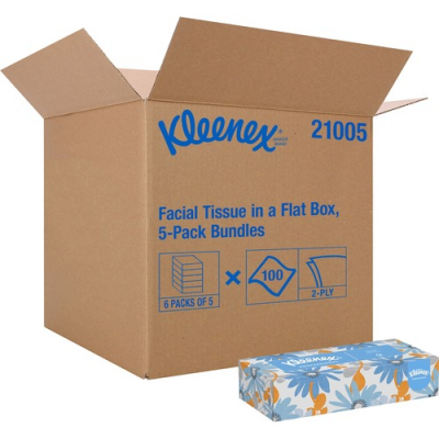 Kimberly-Clark 21005 Kleenex Facial Tissue, 2 Ply, 100 Sheets / Flat Box, White - 30 / Case