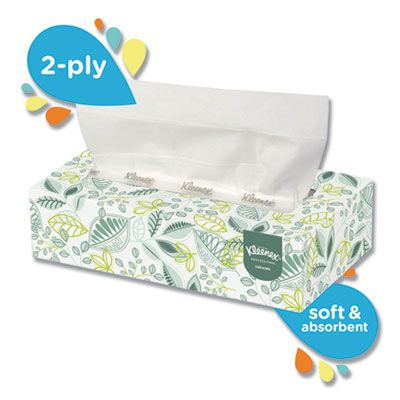 "Kimberly-Clark 21601 Kleenex Naturals 2 Ply Facial Tissue, 125 Sheets / Flat Box, 8.4"" x 8.5"", White - 48 / Case"