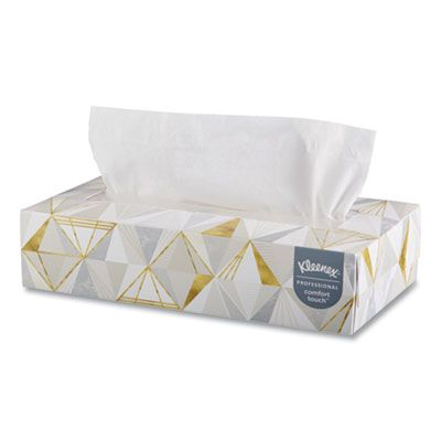 "Kimberly-Clark 21606 Kleenex 2 Ply Facial Tissue, 125 Sheets / Flat Box, 8-2/5"" x 8-3/5"", White - 48 / Case"