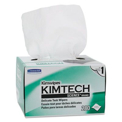 "Kimberly-Clark 34155 Kimtech Science Kimwipes Delicate Task Wipes, 1 Ply, 4-3/8"" x 8-3/8"", 280 / Box, White  - 60 / Case"