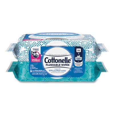 """Kimberly-Clark 35970 Cottonelle Fresh Care Flushable Wipes, 84 / Pack, 3.73"""" x 5.5"""" - 8 / Case"""