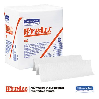 "Kimberly Clark 41026 WypAll X80 Cloths, Hydroknit, 1/4 Fold, 12.5"" x 12"", 50 / Box, White - 4 / Case"