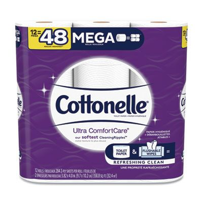 Kimberly-Clark 48596 Cottonelle Ultra Comfort Care Toilet Paper, 2 Ply, 284 Sheets / Roll - 48 / Case