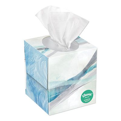 "Kimberly-Clark 49974 Kleenex Lotion Facial Tissue, 2 Ply, 8.2"" x 8.4"", 65 Tissues / Cube Box, White - 27 / Case"