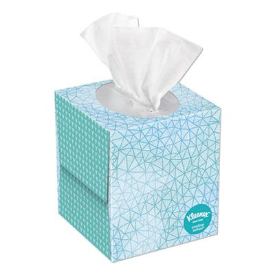 "Kimberly-Clark 50140 Kleenex Cool Touch Facial Tissue, 2 Ply, 8.4"" x 8.2"", 45 Tissues / Cube Box, White - 27 / Case"