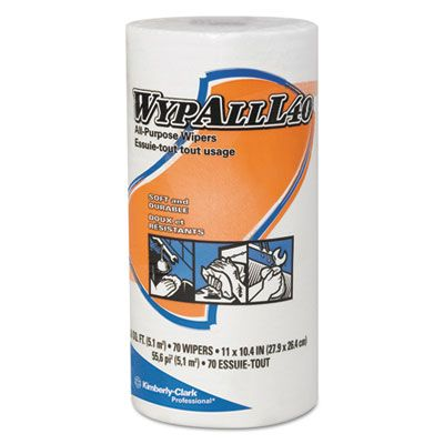 """Kimberly-Clark 5027 WypAll L40 DRC Wipers, 70 / Roll, 11"""" x 10.4"""", White - 24 / Case"""
