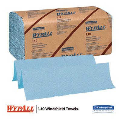 "Kimberly-Clark 5123 WypAll L10 Windshield Towels, 1 Ply, 9-1/10"" x 10-1/4"", Blur - 2240 / Case"