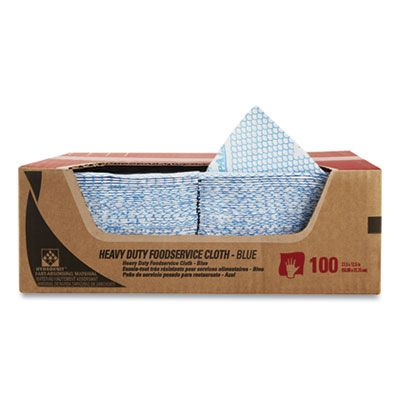 "Kimberly-Clark 51633 WypAll Heavy Duty Foodservice Wiper Towels, 12.5"" x 23.5"", Blue / White - 100 / Case"