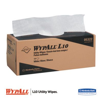 """Kimberly-Clark 5322 WypAll L10 Utility Wipes, 1 Ply, 125 Sheets / Box, 12"""" x 10.25"""", White - 18 / Case"""