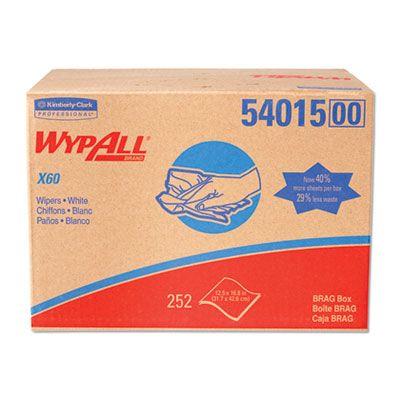 "Kimberly-Clark 54015 WypAll X60 Wiper Cloths, 16.8"" x 12.5"", White - 252 / Case"