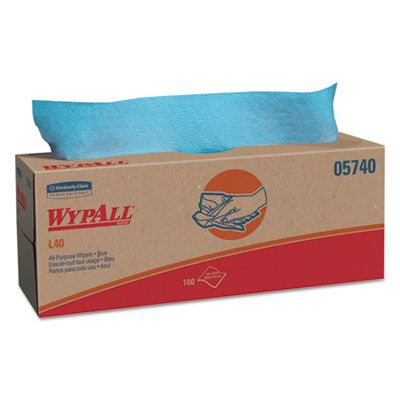 "Kimberly-Clark 5740 WypAll L40 Towels, 16.4"" x 9.8"", Blue - 900 / Case"