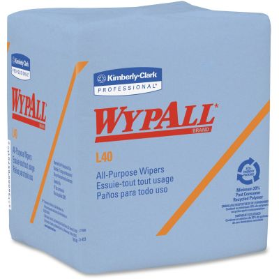 "Kimberly-Clark 5776 WypAll L40 Wipers, 12-1/2"" x 12"", Blue - 672 / Case"