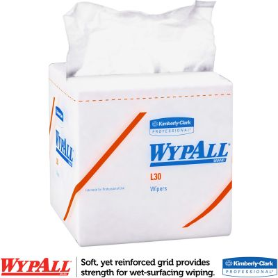 "Kimberly-Clark 5812 WypAll L30 Wipers, Light Duty, 12-1/2"" x 12"", White - 1080 / Case"