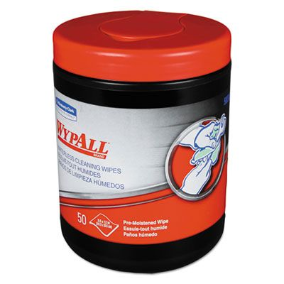 """Kimberly-Clark 58310 WypAll Heavy-Duty Waterless Cleaning Wipes, 12"""" x 9.5"""", 50 / Canister - 8 / Case"""
