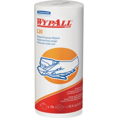 "Kimberly-Clark 5843 WypAll L30 General Purpose Wipers, 70 / Roll, 11"" x 10-2/5"", White - 24 / Case"