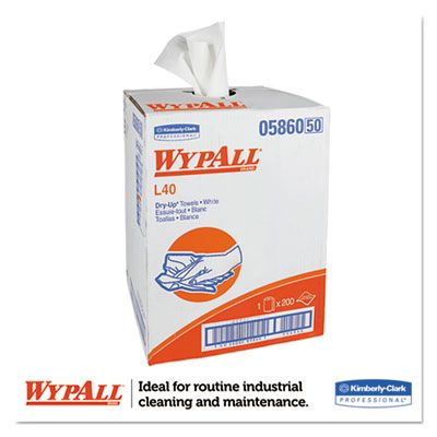 "Kimberly-Clark 5860 WypAll L40 Dry-Up Towels, 19-1/2"" x 42"", White - 200 / Case"