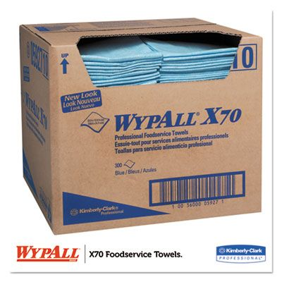 "Kimberly-Clark 5927 WypAll X70 Foodservice Towels, 1/4 Fold, 12-1/2"" x 23-1/2"", Blue - 300 / Case"