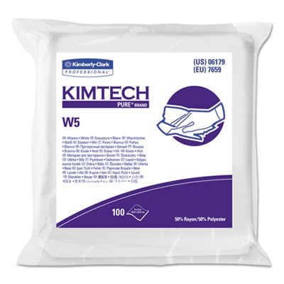 "Kimberly-Clark 06179 Kimtech W5 Critical Task Wipers, Spunlace, 9"" x 9"", White - 500 / Case"