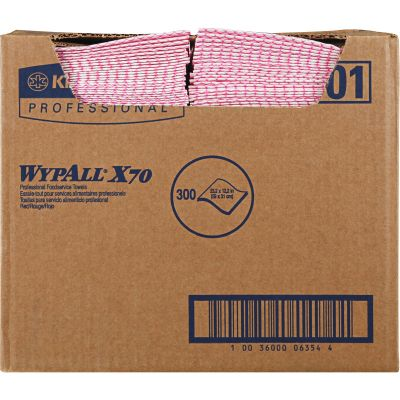 """Kimberly-Clark 6354 WypAll X70 Foodservice Wipers, 12.5"""" x 23.5"""", Red / White - 300 / Case"""