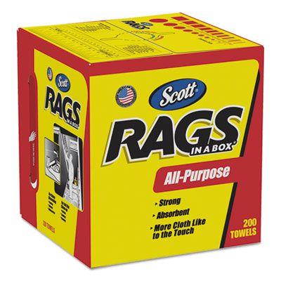 "Kimberly-Clark 75260 Scott Rags in a Box, 10"" x 12"", White - 1600 / Case"