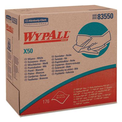 "Kimberly-Clark 83550 WypAll X50 Wiper Cloths, 176 / Pop-Up Box, 9.1"" x 12.5"", White - 1760 / Case"