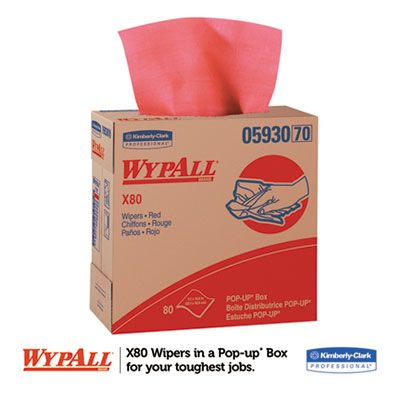 """Kimberly-Clark 05930 WypAll X80 Cloths with Hydroknit, 8.34"""" x 16.8"""", Red - 400 / Case"""