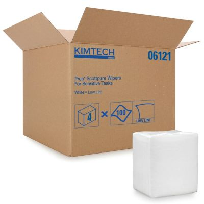 "Kimberly-Clark 06121 Kimtech Prep ScottPure Wipers for Sensitive Tasks, 12"" x 15"", White - 400 / Case"