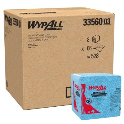 """Kimberly-Clark 33560 WypAll Oil, Grease & Ink Cloths, 1/4 Fold, 12"""" x 12.5"""" - 528 / Case"""