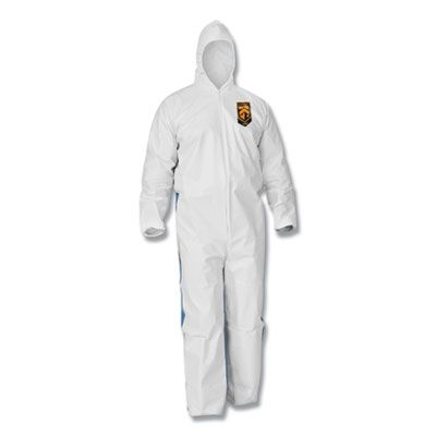 Kimberly-Clark 38938 KleenGuard A35 Liquid and Particle Protection Coveralls, Hooded, Large, White - 25 / Case