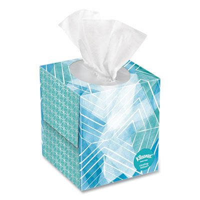 Kimberly-Clark 50140 Kleenex Cool Touch Facial Tissue, 2 Ply, 45 Tissues / Cube Box, White - 27 / Case