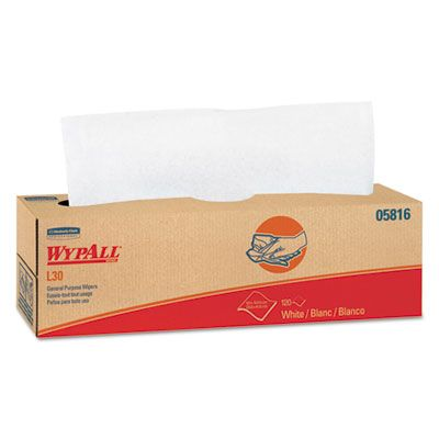 """Kimberly-Clark 05816 WypAll L30 General Purpose Wipers, 9.8"""" x 16.4"""", White - 720 / Case"""