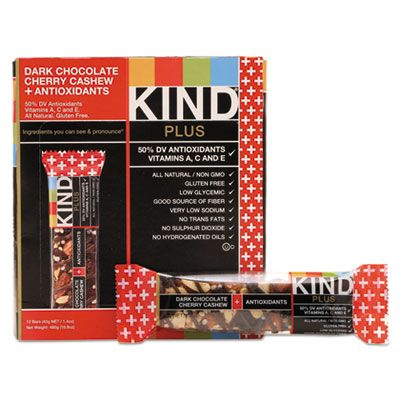 Kind Snacks 17250 KIND Plus Nutrition Boost Bar, Dark Chocolate Cherry Cashew & Antioxidants, 1.4 oz - 12 / Case