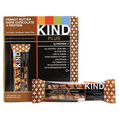 Kind Snacks 17256 KIND Plus Nutrition Boost Protein Bars, Peanut Butter Dark Chocolate, 1.4 oz - 12 / Case