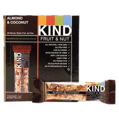 Kind Snacks 17828 Fruit & Nut Bars, Almond & Coconut, 1.4 oz - 12 / Case