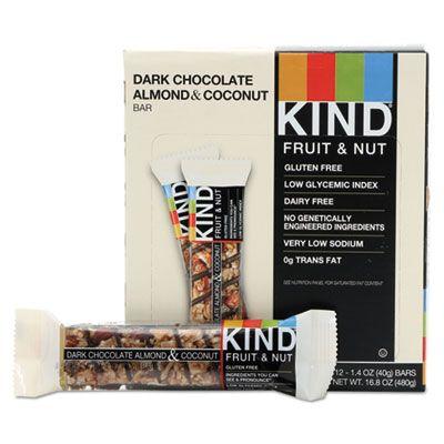 Kind Snacks 19987 KIND Fruit & Nut Bar, Dark Chocolate Almond & Coconut, 1.4 oz - 12 / Case