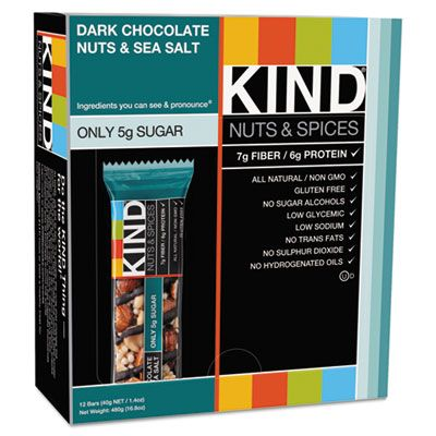 Kind Snacks 17851 KIND Nuts & Spices Snack Bar, Dark Chocolate Nuts & Sea Salt, All Natural - 12 / Case