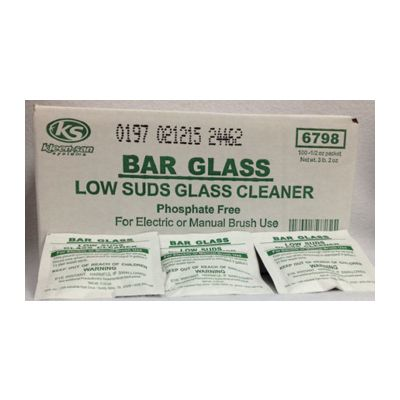 Bar Glass Low Suds Glass Cleaner, Manual or Electric, 0.5 oz Pouch - 100 / Case