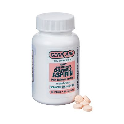 Geri-Care 911-36-GCP Aspirin Chewable Tablet Pain Reliever for Adults, 81 mg, Orange Flavor - 432 / Case