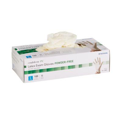 McKesson 14-1383 Confiderm PC Latex Exam Gloves, Powder-Free, Textured, Large, Ivory, NonSterile - 1000 / Case