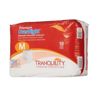 "PBE 2115 Tranquility Premium OverNight Absorbent Underwear, Adult Unisex, Medium (34 to 48""), Heavy Absorbency - 72 / Case"