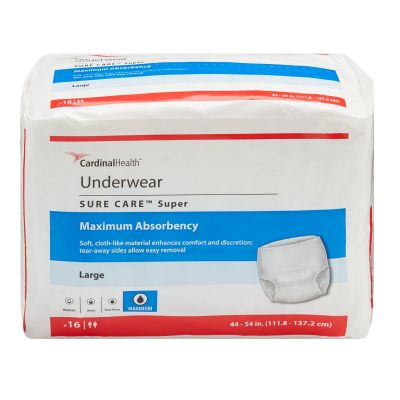 """Cardinal Health 1215 Sure Care Absorbent Underwear, Adult Unisex, Large (44 to 54""""), Heavy Absorbency - 16 / Case"""