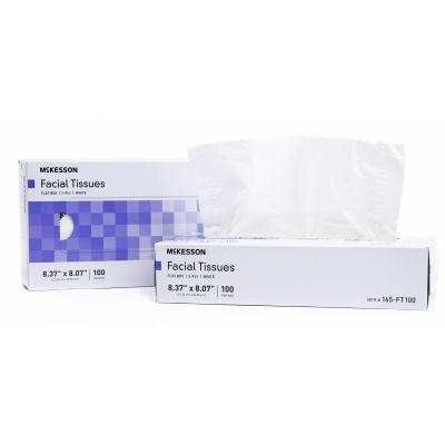 "McKesson 165-FT100 Facial Tissue, 2 Ply, 8.37"" x 8.07"", 100 Sheets / Flat Box, White - 30 / Case"