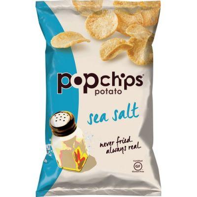 Lil Drug Store 80080 PopChips Potato Chips, Sea Salt Flavor, Gluten-Free, 3.5 oz Bag - 6 / Case