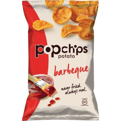 Lil Drug Store 80090 PopChips Potato Chips, Barbeque Flavor, Gluten-Free, 3.5 oz Bag - 6 / Case