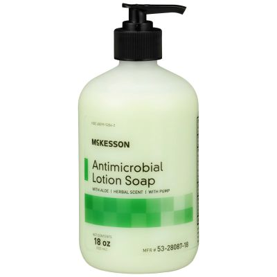 McKesson 53-28087-18 Antimicrobial Lotion Soap, Herbal Scent, 18 oz Pump Bottle - 12 / Case