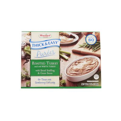 Hormel Food Sales 60749 Thick & Easy Purees, Turkey with Stuffing / Green Beans Flavor, 7 oz Tray - 7 / Case