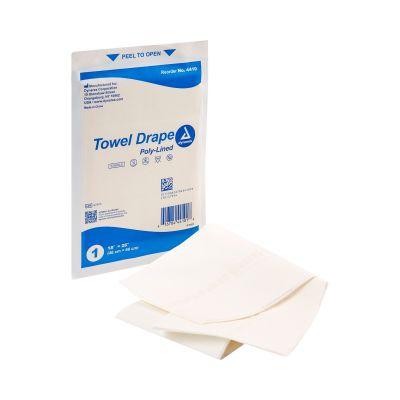 "Dynarex 4410 Towel Drape, General Purpose, Poly Lined, 18"" W x 26"" L, Sterile - 50 / Case"