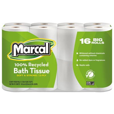 Marcal 16466 Toilet Paper, 2 Ply, 168 Sheets / Standard Roll, White - 96 / Case