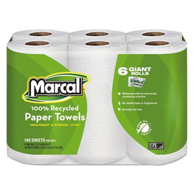 "Marcal 6181 100% Recycled Paper Towels, 2 Ply, 5.5"" x 11"" 140 Perforated Sheets / Roll, White - 24 / Case"